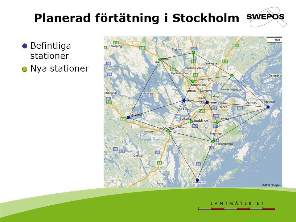 Planerad förtätning i Stockholm Befintliga stationer Nya stationer