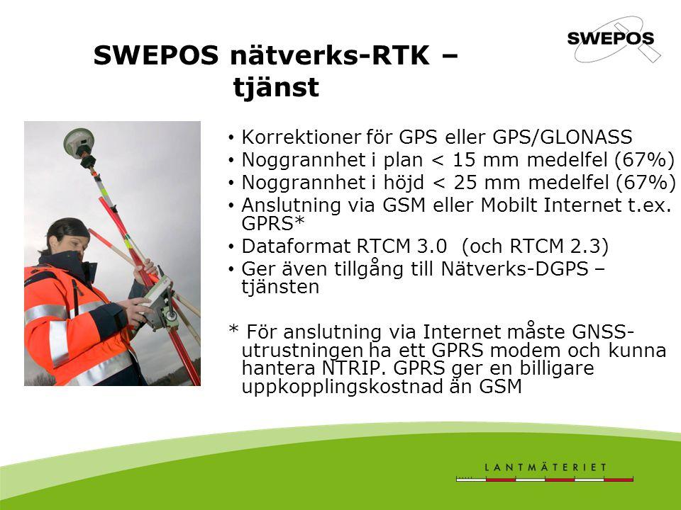 Korrektioner för GPS eller GPS/GLONASS Noggrannhet i plan < 15 mm medelfel (67%) Noggrannhet i höjd < 25 mm medelfel (67%) Anslutning via GSM eller Mo