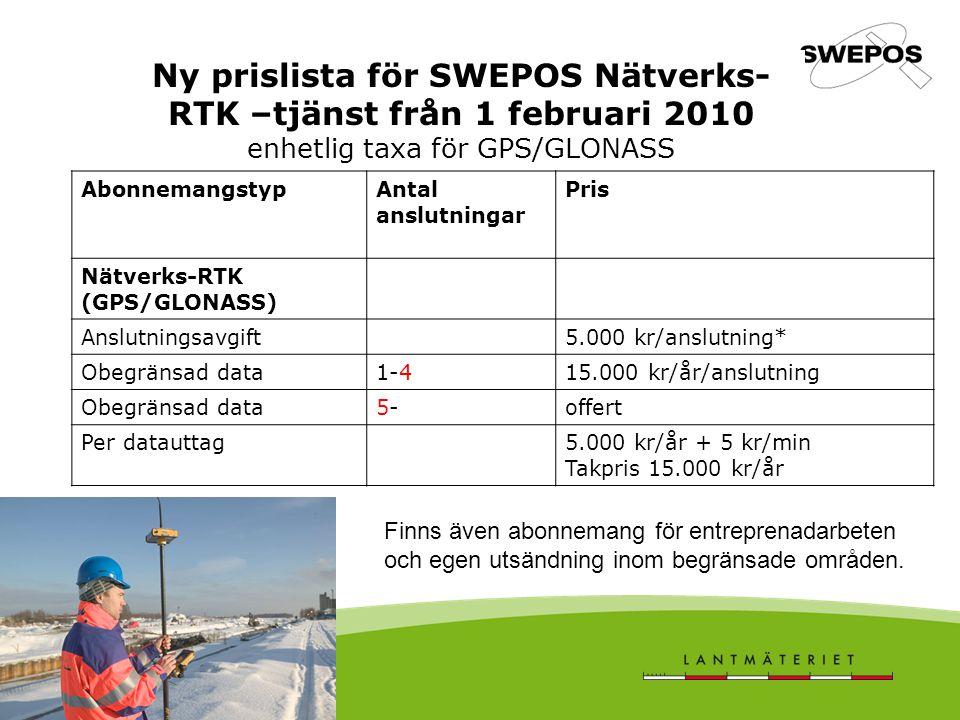 Ny prislista för SWEPOS Nätverks- RTK –tjänst från 1 februari 2010 enhetlig taxa för GPS/GLONASS AbonnemangstypAntal anslutningar Pris Nätverks-RTK (G