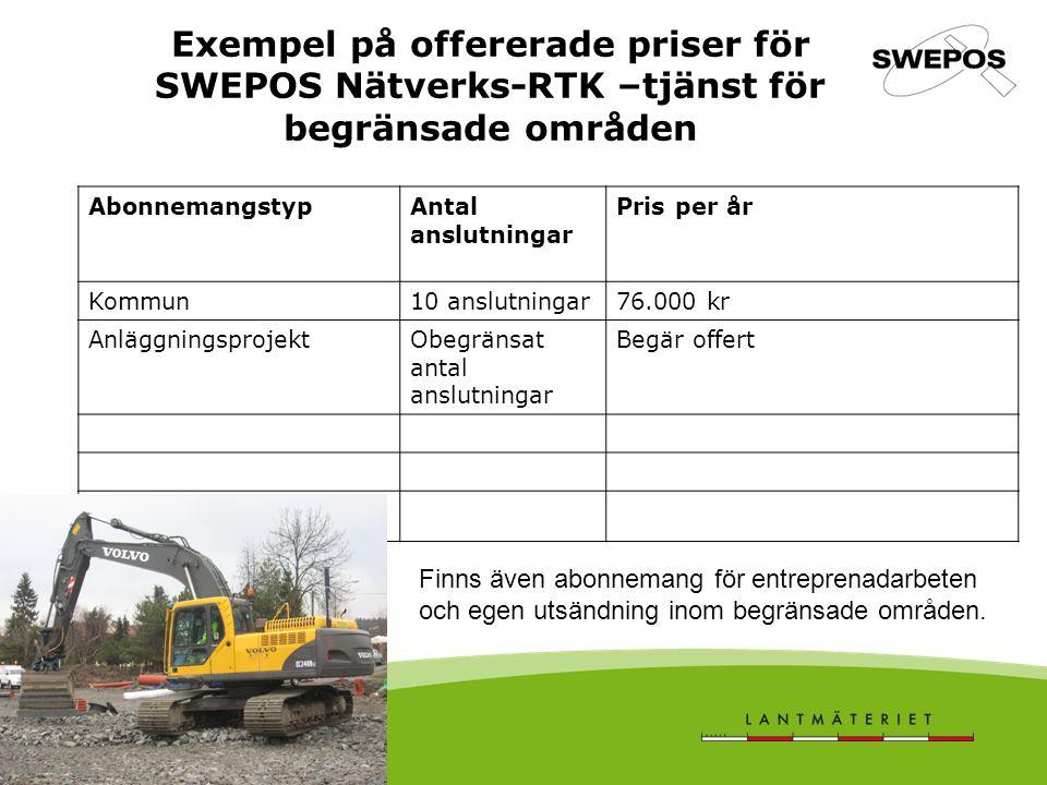 Exempel på offererade priser för SWEPOS Nätverks-RTK –tjänst för begränsade områden AbonnemangstypAntal anslutningar Pris per år Kommun10 anslutningar