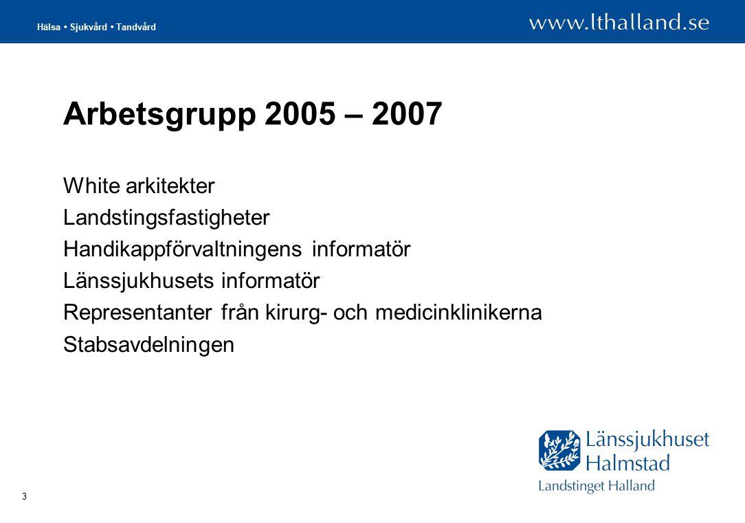 Hälsa Sjukvård Tandvård 3 Arbetsgrupp 2005 – 2007 White arkitekter Landstingsfastigheter Handikappförvaltningens informatör Länssjukhusets informatör Representanter från kirurg- och medicinklinikerna Stabsavdelningen