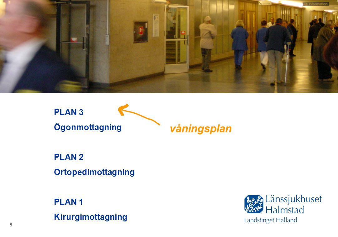 Hälsa Sjukvård Tandvård 9 PLAN 3 Ögonmottagning PLAN 2 Ortopedimottagning PLAN 1 Kirurgimottagning våningsplan