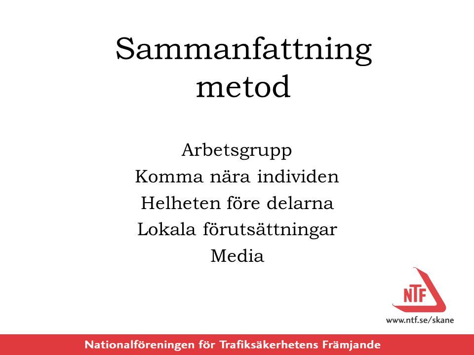 Sammanfattning metod Arbetsgrupp Komma nära individen Helheten före delarna Lokala förutsättningar Media