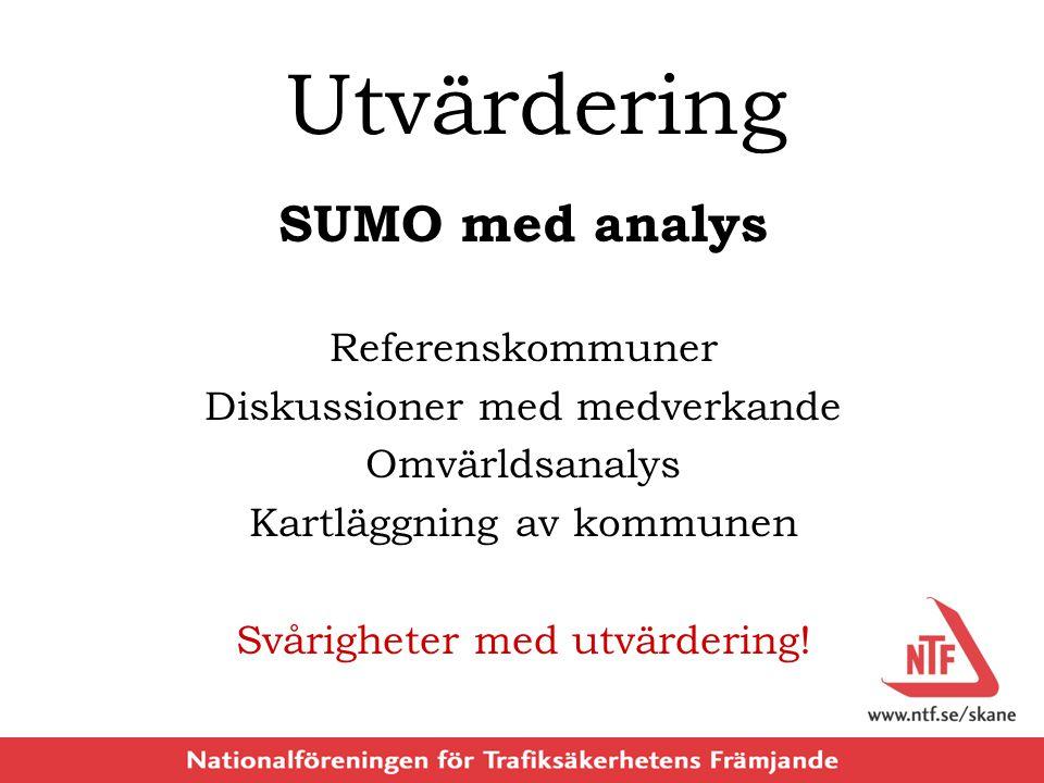 Utvärdering SUMO med analys Referenskommuner Diskussioner med medverkande Omvärldsanalys Kartläggning av kommunen Svårigheter med utvärdering!