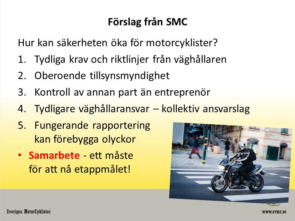 Förslag från SMC Hur kan säkerheten öka för motorcyklister.