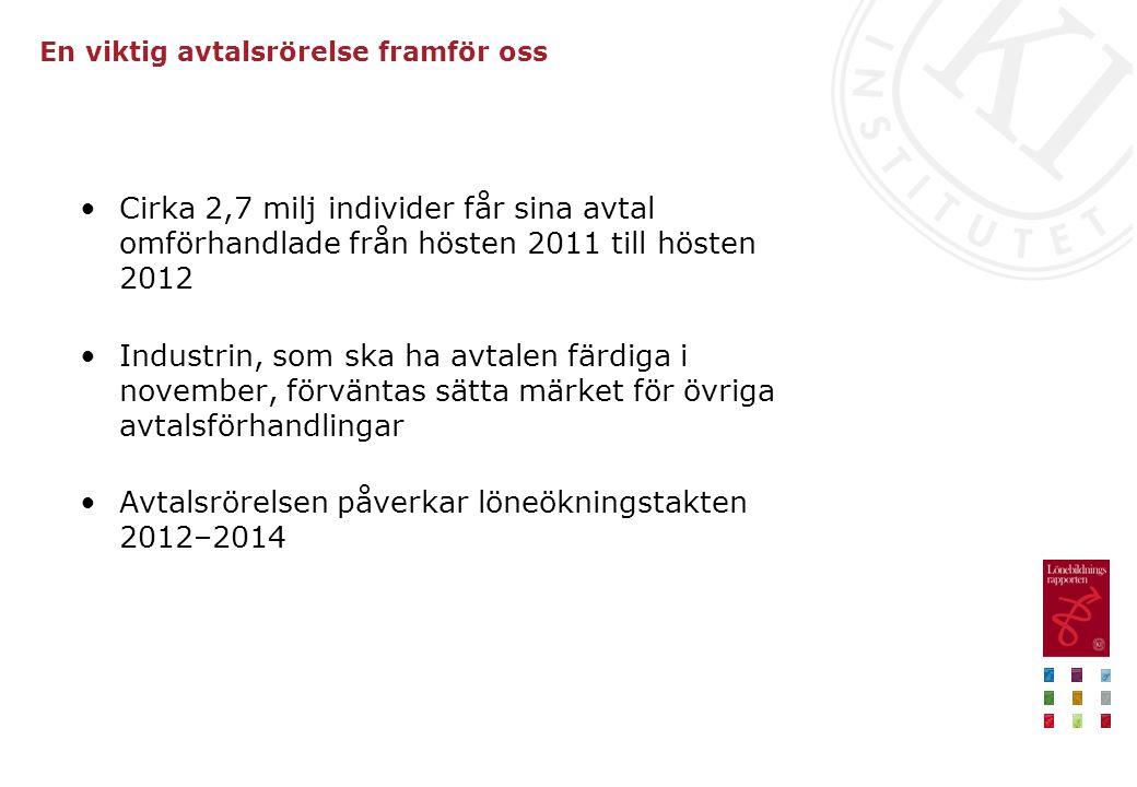 En viktig avtalsrörelse framför oss Cirka 2,7 milj individer får sina avtal omförhandlade från hösten 2011 till hösten 2012 Industrin, som ska ha avta