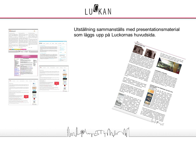 Utställningen om Luckorna - omfattning och utseende Utställning sammanställs med presentationsmaterial som läggs upp på Luckornas huvudsida.Tillsamman