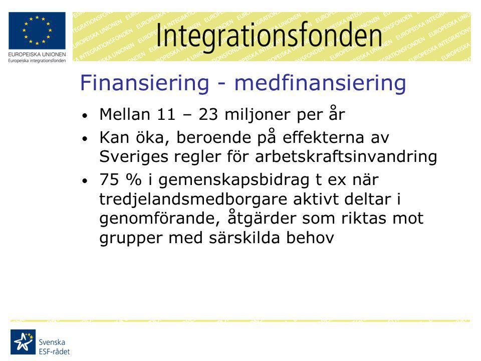 Finansiering - medfinansiering Mellan 11 – 23 miljoner per år Kan öka, beroende på effekterna av Sveriges regler för arbetskraftsinvandring 75 % i gemenskapsbidrag t ex när tredjelandsmedborgare aktivt deltar i genomförande, åtgärder som riktas mot grupper med särskilda behov
