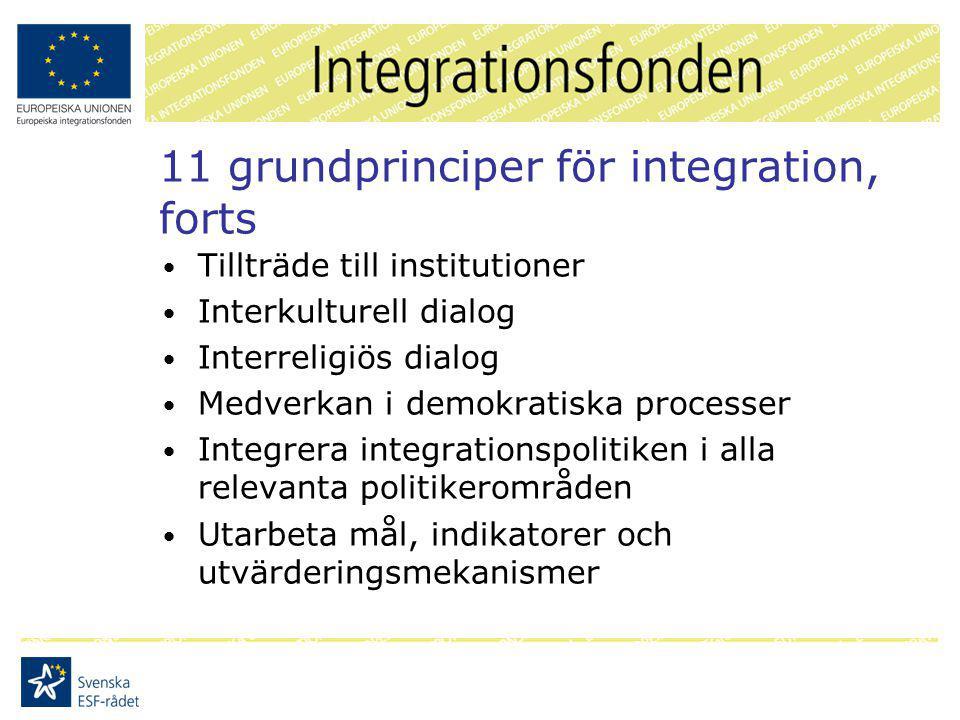 Fonden i Sverige Bidra till att EU:s 11 grundprinciper introduceras och tillämpas i Sverige Fokus på kulturmöten, religion, egenmakt, social integration, och värdegrund Förbättra systemen för integration av tredjelandsmedborgare i Sverige