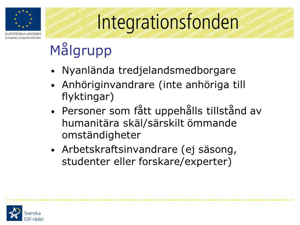 Målgrupp Nyanlända tredjelandsmedborgare Anhöriginvandrare (inte anhöriga till flyktingar) Personer som fått uppehålls tillstånd av humanitära skäl/särskilt ömmande omständigheter Arbetskraftsinvandrare (ej säsong, studenter eller forskare/experter)