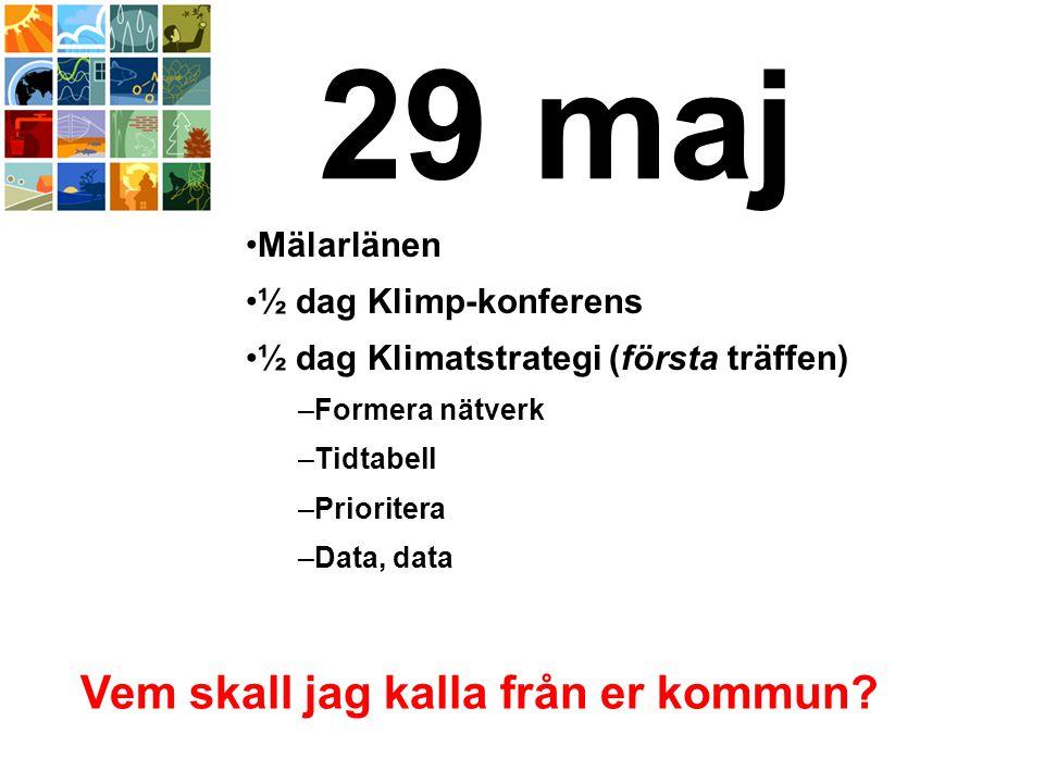 29 maj Mälarlänen ½ dag Klimp-konferens ½ dag Klimatstrategi (första träffen) –Formera nätverk –Tidtabell –Prioritera –Data, data Vem skall jag kalla från er kommun?