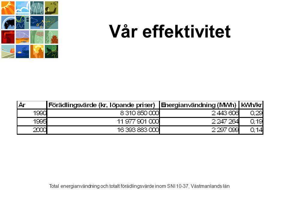 Vår effektivitet Total energianvändning och totalt förädlingsvärde inom SNI 10-37, Västmanlands län