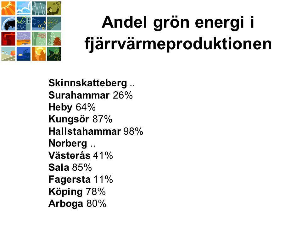 Andel grön energi i fjärrvärmeproduktionen Skinnskatteberg..