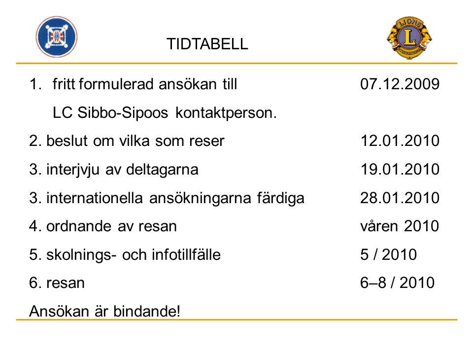 TIDTABELL 1.fritt formulerad ansökan till 07.12.2009 LC Sibbo-Sipoos kontaktperson. 2. beslut om vilka som reser12.01.2010 3. interjvju av deltagarna1