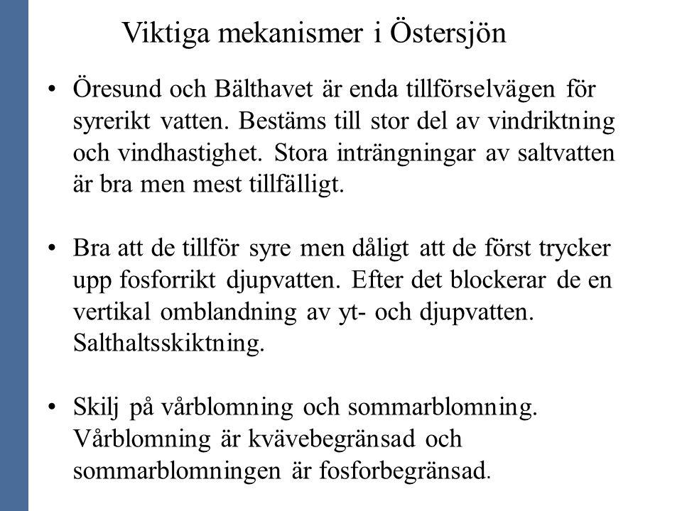 Viktiga mekanismer i Östersjön Öresund och Bälthavet är enda tillförselvägen för syrerikt vatten. Bestäms till stor del av vindriktning och vindhastig