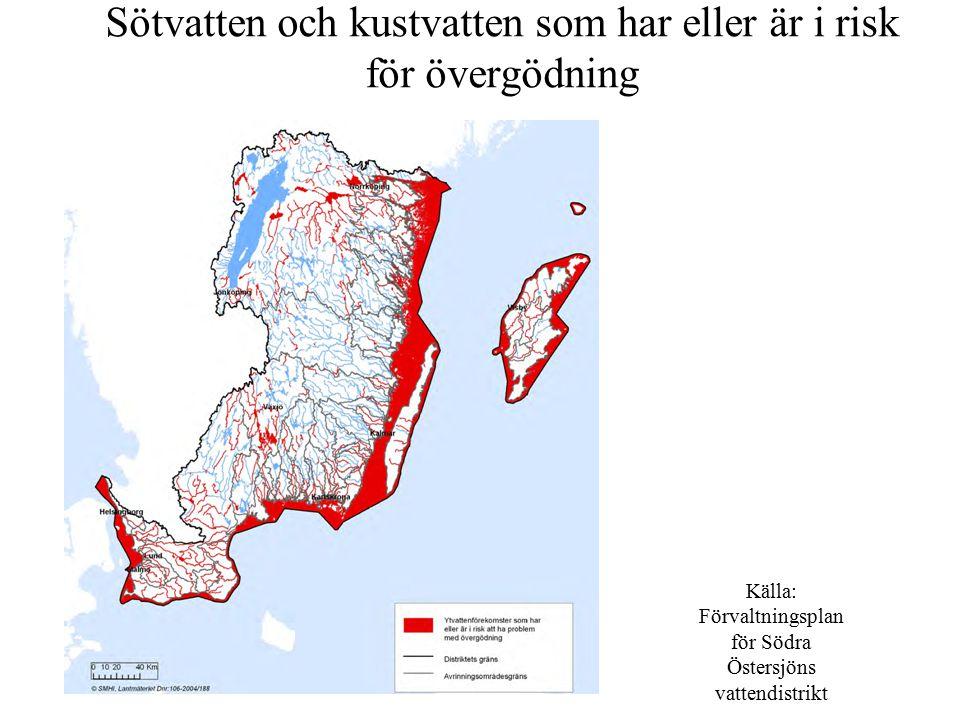 Sötvatten och kustvatten som har eller är i risk för övergödning Källa: Förvaltningsplan för Södra Östersjöns vattendistrikt