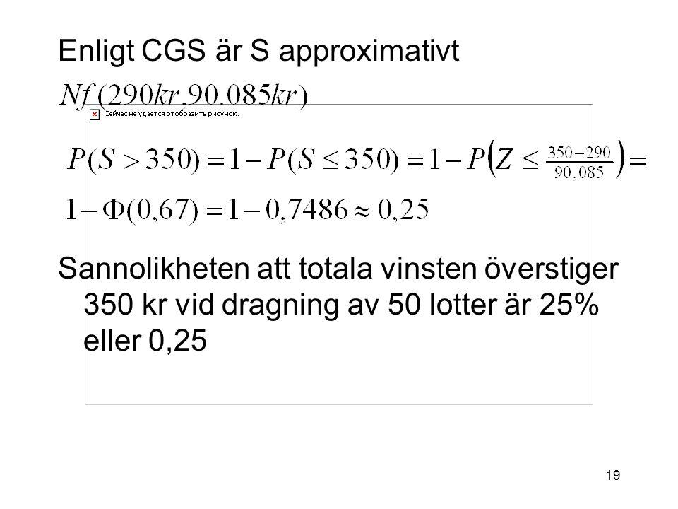 19 Enligt CGS är S approximativt Sannolikheten att totala vinsten överstiger 350 kr vid dragning av 50 lotter är 25% eller 0,25