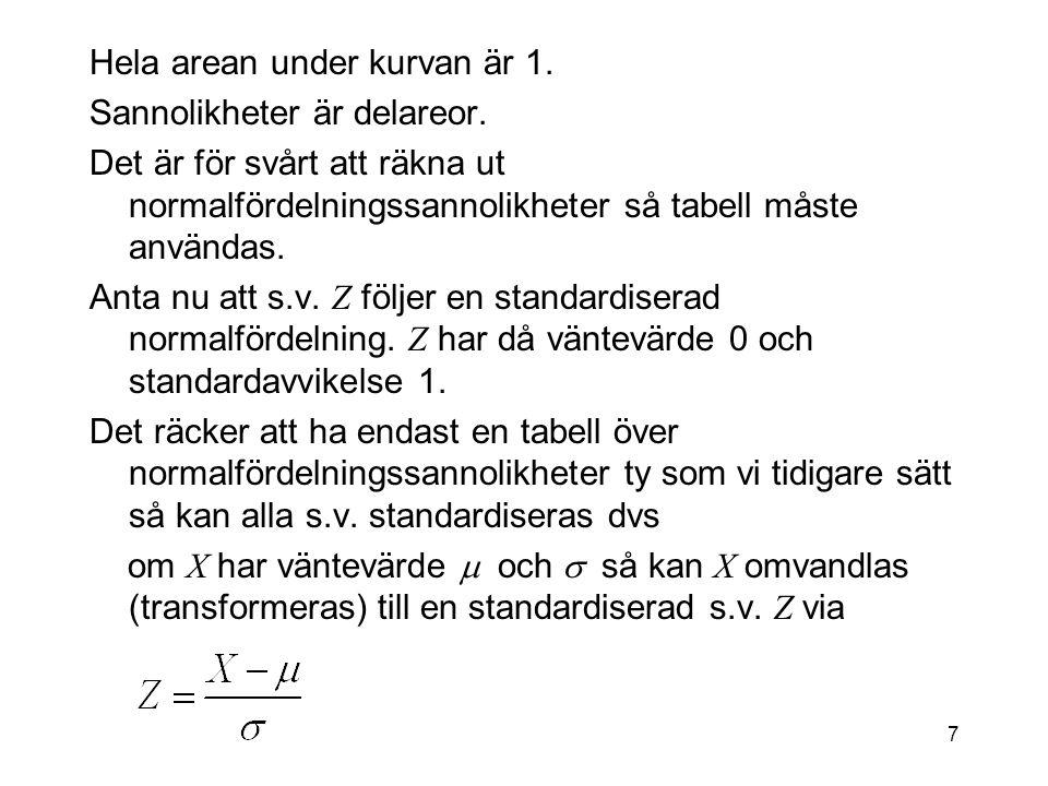 7 Hela arean under kurvan är 1.Sannolikheter är delareor.