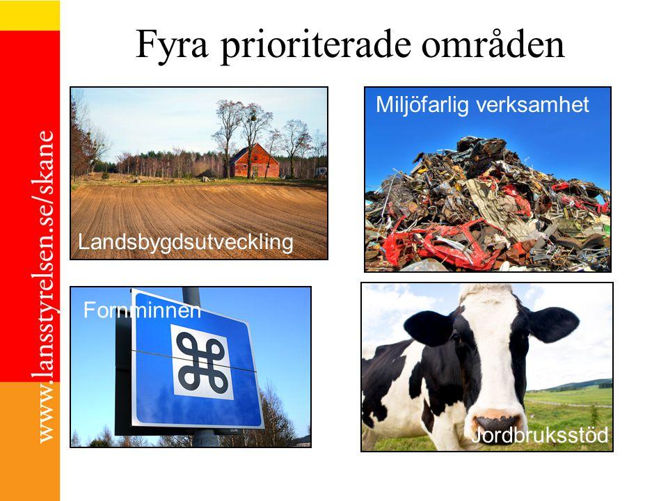 Fyra prioriterade områden Landsbygdsutveckling Miljöfarlig verksamhet Fornminnen Jordbruksstöd Miljöfarlig verksamhet