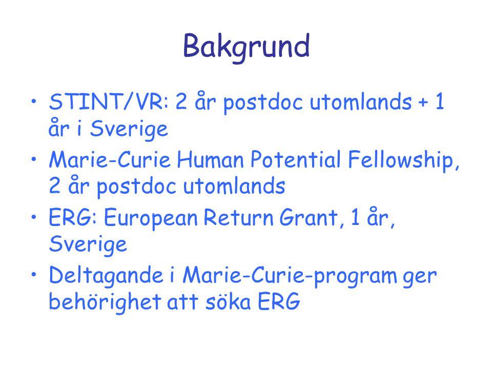 Bakgrund STINT/VR: 2 år postdoc utomlands + 1 år i Sverige Marie-Curie Human Potential Fellowship, 2 år postdoc utomlands ERG: European Return Grant,