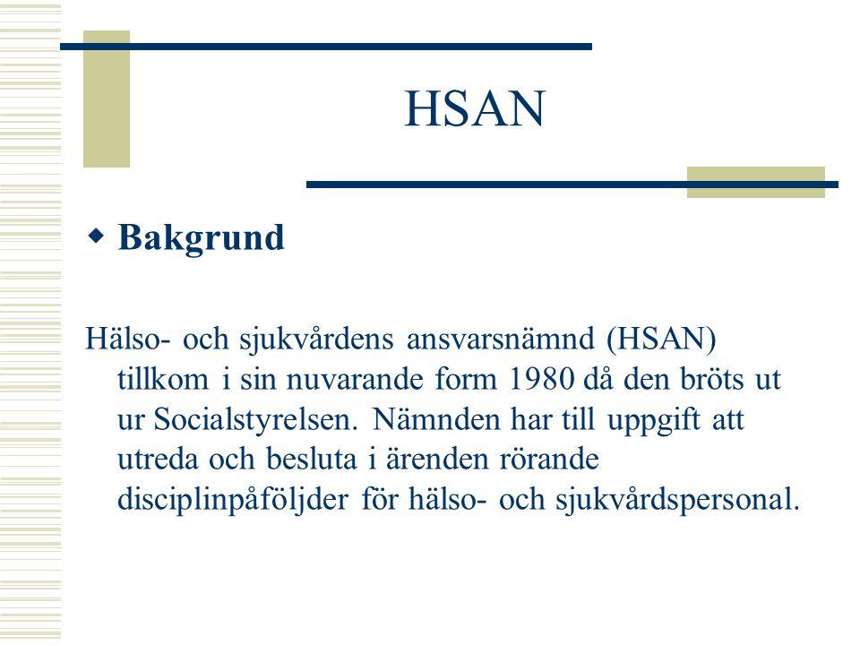 HSAN Sammansättming:  Ordförande med domarkompetens  8 ledamöter som skall vara väl insatta i hälso- och sjukvårdsfrågor 1 gemensam representant för Landstingsförbundet och Kommunförbundet 3 från de stora fackförbunden (1 från LO, 1 från TCO och 1 från SACO) 4 övriga ledamöter (ofta riksdagsmän)