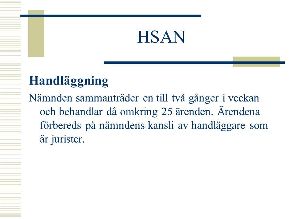 HSAN Handläggning Nämnden sammanträder en till två gånger i veckan och behandlar då omkring 25 ärenden. Ärendena förbereds på nämndens kansli av handl