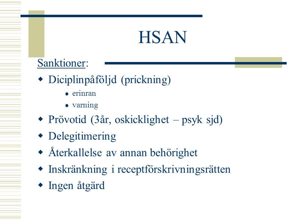 HSAN Sanktioner:  Diciplinpåföljd (prickning) erinran varning  Prövotid (3år, oskicklighet – psyk sjd)  Delegitimering  Återkallelse av annan behö