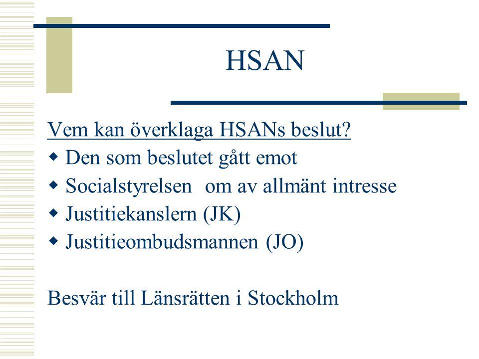 HSAN Vem kan överklaga HSANs beslut?  Den som beslutet gått emot  Socialstyrelsen om av allmänt intresse  Justitiekanslern (JK)  Justitieombudsman
