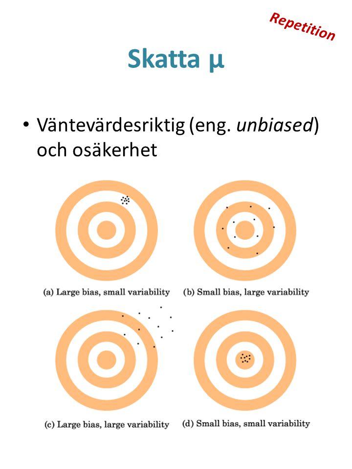 Skatta μ Väntevärdesriktig (eng. unbiased) och osäkerhet Repetition