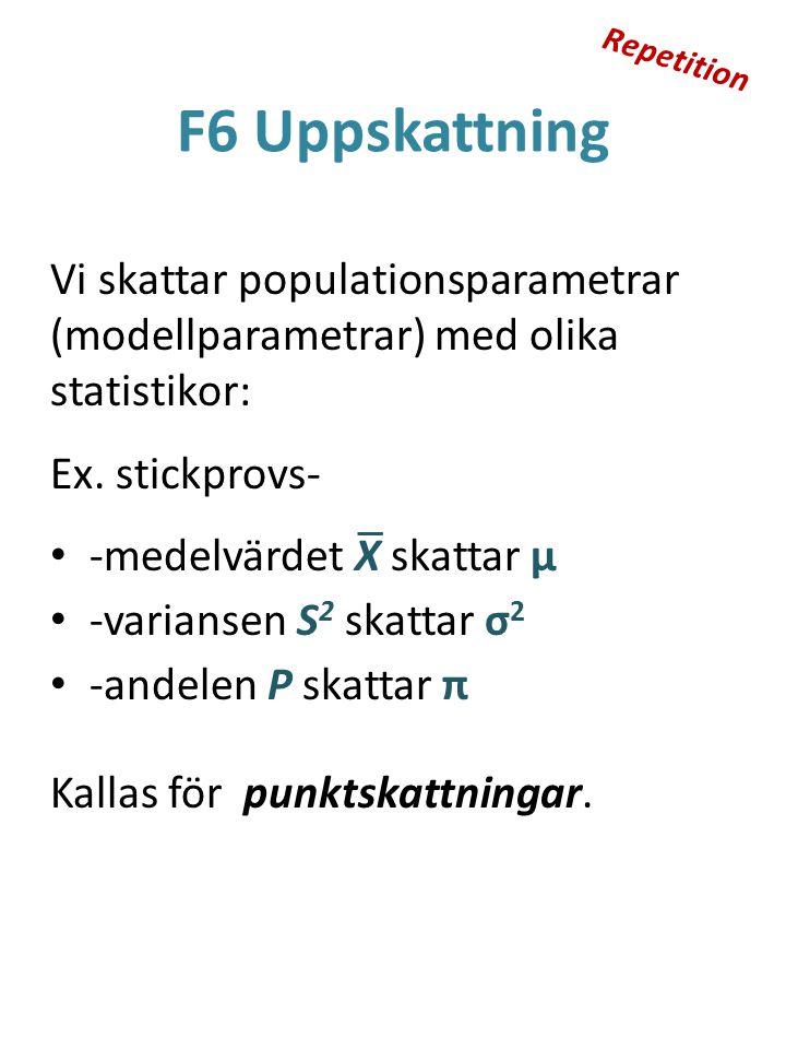 F6 Uppskattning Vi skattar populationsparametrar (modellparametrar) med olika statistikor: Ex. stickprovs- -medelvärdet X skattar μ -variansen S 2 ska