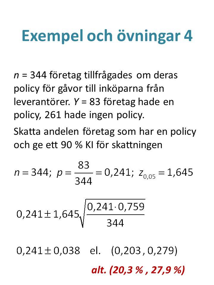 Exempel och övningar 4 n = 344 företag tillfrågades om deras policy för gåvor till inköparna från leverantörer. Y = 83 företag hade en policy, 261 had