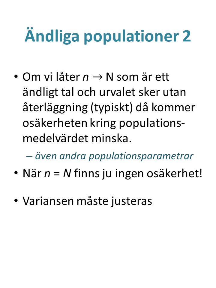 Ändliga populationer 2 Om vi låter n → N som är ett ändligt tal och urvalet sker utan återläggning (typiskt) då kommer osäkerheten kring populations-