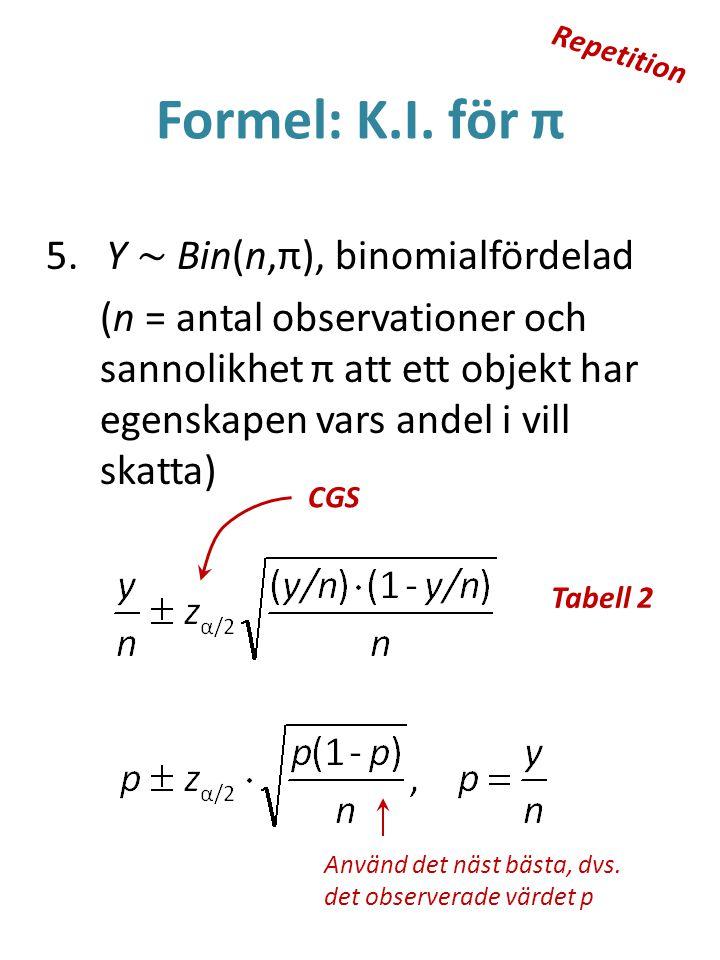 Formel: K.I. för π 5. Y ~ Bin(n,π), binomialfördelad (n = antal observationer och sannolikhet π att ett objekt har egenskapen vars andel i vill skatta