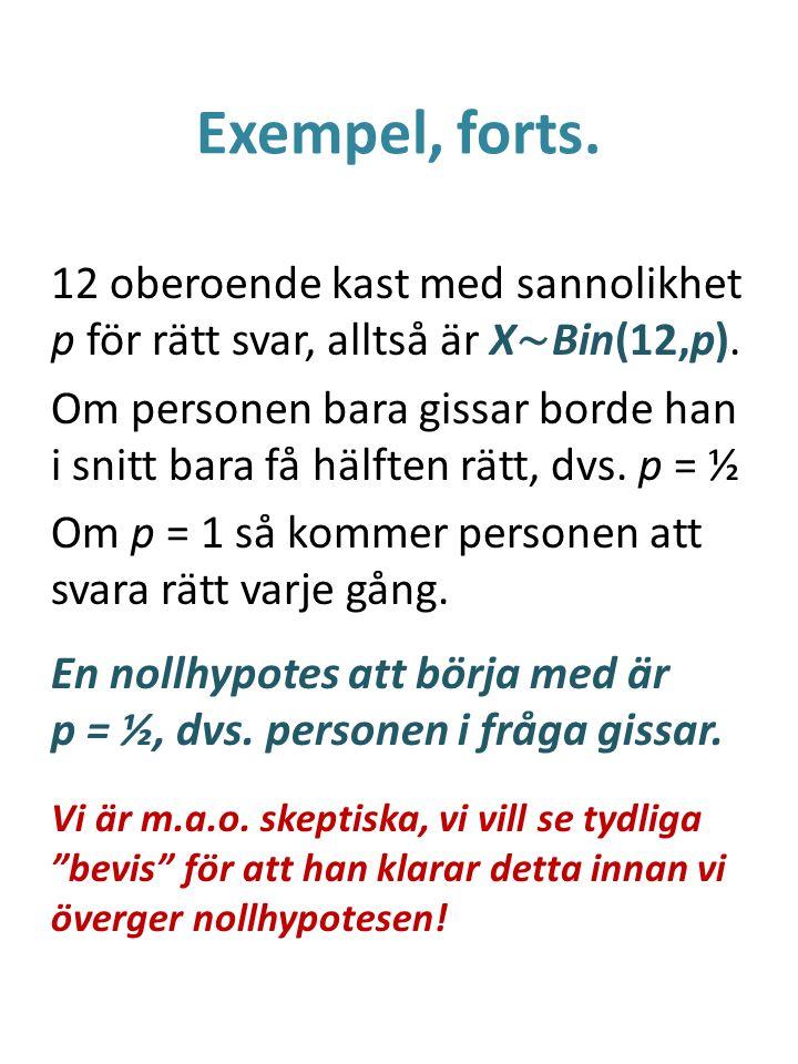 Exempel, forts. 12 oberoende kast med sannolikhet p för rätt svar, alltså är X ∼ Bin(12,p). Om personen bara gissar borde han i snitt bara få hälften