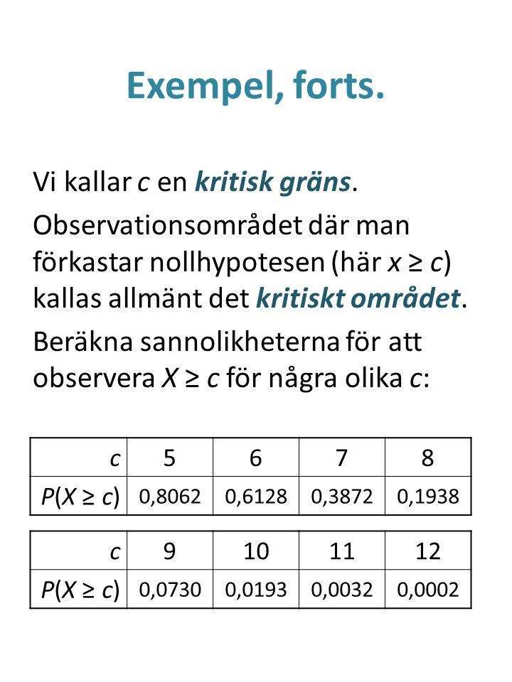 Exempel, forts. Vi kallar c en kritisk gräns. Observationsområdet där man förkastar nollhypotesen (här x ≥ c) kallas allmänt det kritiskt området. Ber