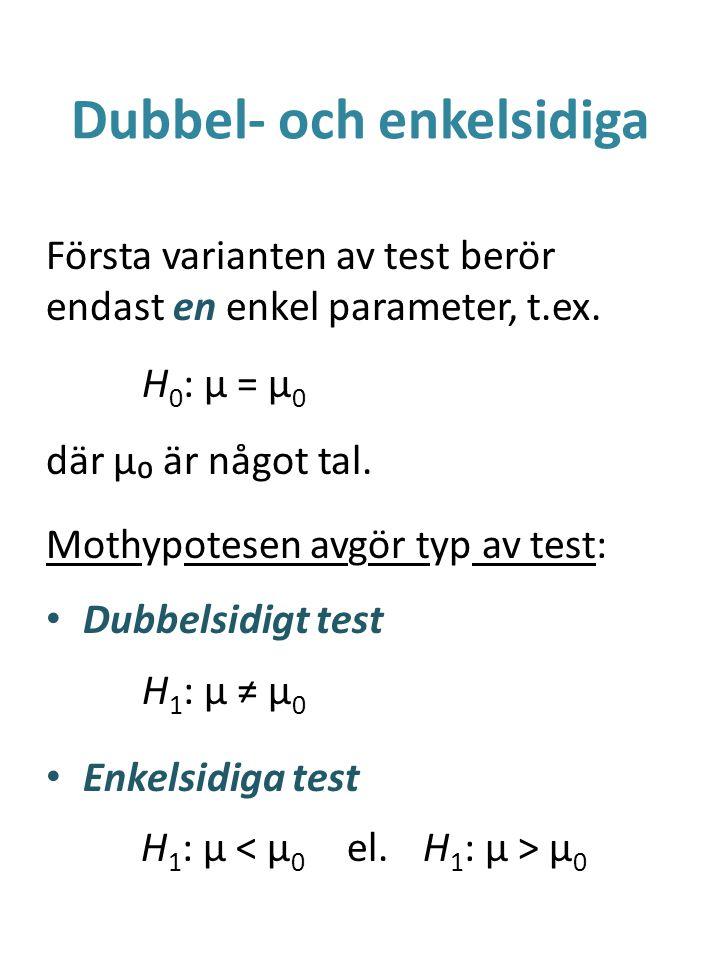 Dubbel- och enkelsidiga Första varianten av test berör endast en enkel parameter, t.ex. H 0 : μ = μ 0 där μ₀ är något tal. Mothypotesen avgör typ av t