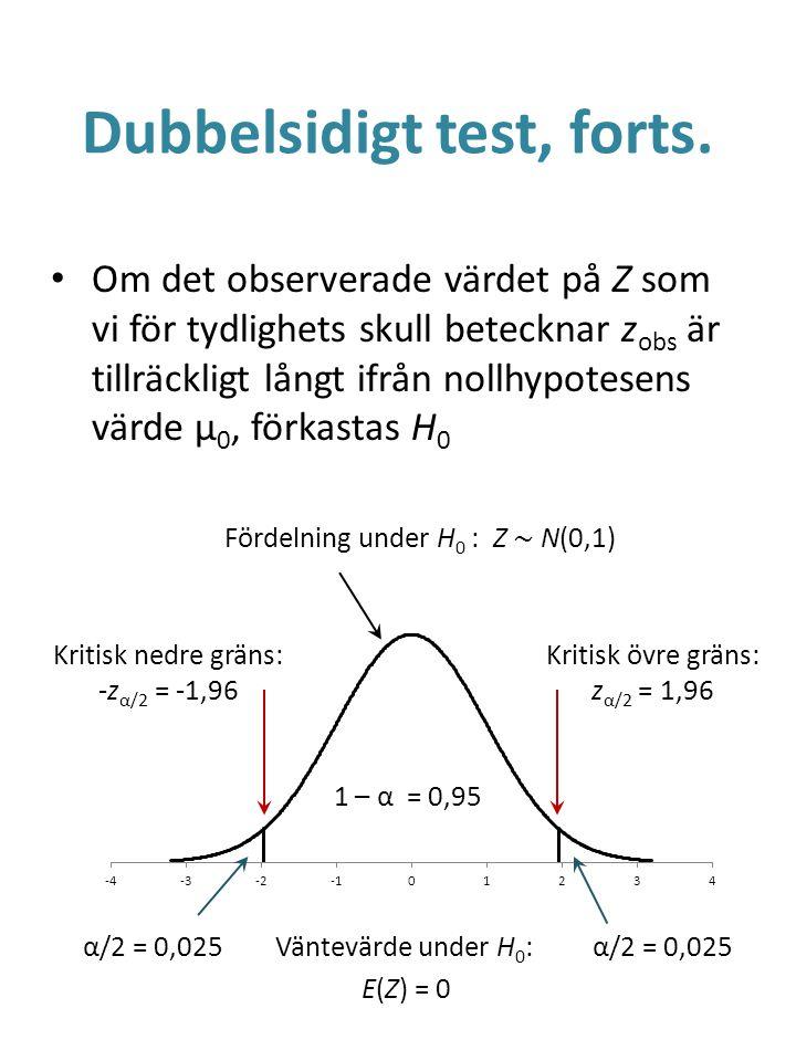 Dubbelsidigt test, forts. Om det observerade värdet på Z som vi för tydlighets skull betecknar z obs är tillräckligt långt ifrån nollhypotesens värde