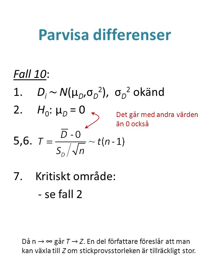 Parvisa differenser Fall 10: 1. D i ~ N(μ D,σ D 2 ), σ D 2 okänd 2. H 0 : μ D = 0 5,6. 7.Kritiskt område: - se fall 2 Då n → ∞ går T → Z. En del förfa