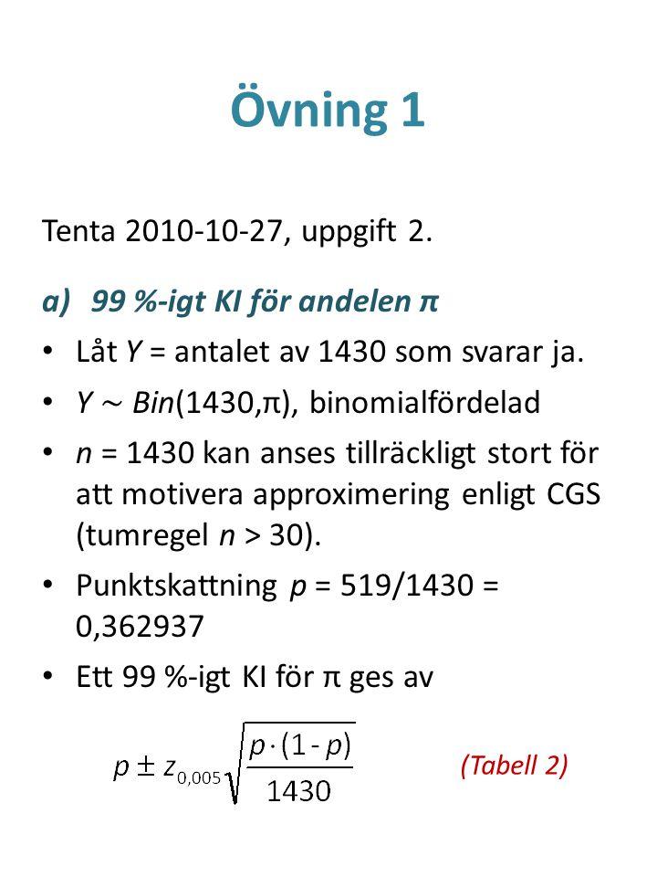 Övning 1 Tenta 2010-10-27, uppgift 2. a)99 %-igt KI för andelen π Låt Y = antalet av 1430 som svarar ja. Y ~ Bin(1430,π), binomialfördelad n = 1430 ka