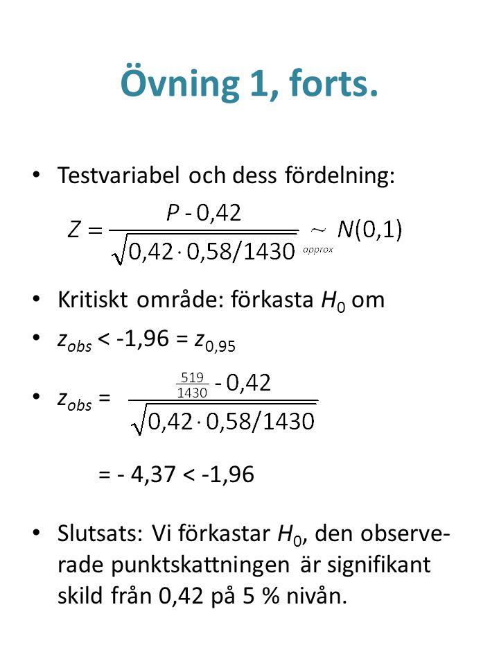 Övning 1, forts. Testvariabel och dess fördelning: Kritiskt område: förkasta H 0 om z obs < -1,96 = z 0,95 z obs = = - 4,37 < -1,96 Slutsats: Vi förka
