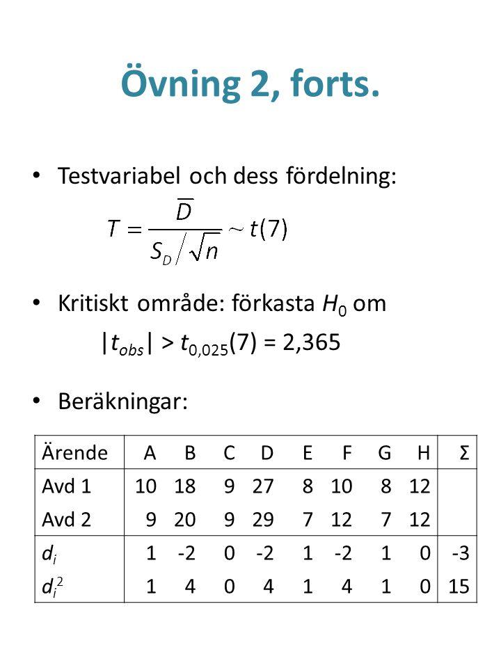Övning 2, forts. Testvariabel och dess fördelning: Kritiskt område: förkasta H 0 om |t obs | > t 0,025 (7) = 2,365 Beräkningar: ÄrendeABCDEFGHΣ Avd 11
