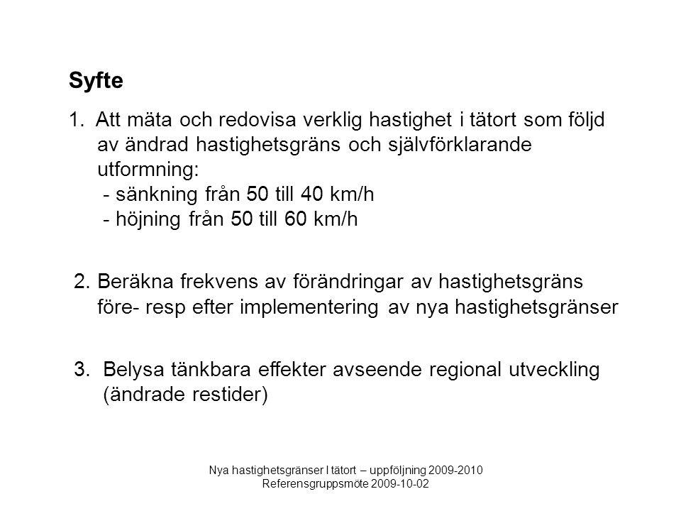 Nya hastighetsgränser I tätort – uppföljning 2009-2010 Referensgruppsmöte 2009-10-02 Syfte 1. Att mäta och redovisa verklig hastighet i tätort som föl