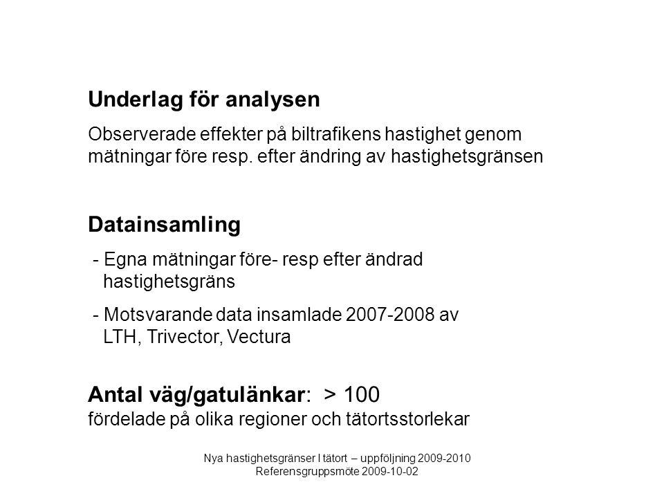 Nya hastighetsgränser I tätort – uppföljning 2009-2010 Referensgruppsmöte 2009-10-02 Underlag för analysen Observerade effekter på biltrafikens hastighet genom mätningar före resp.