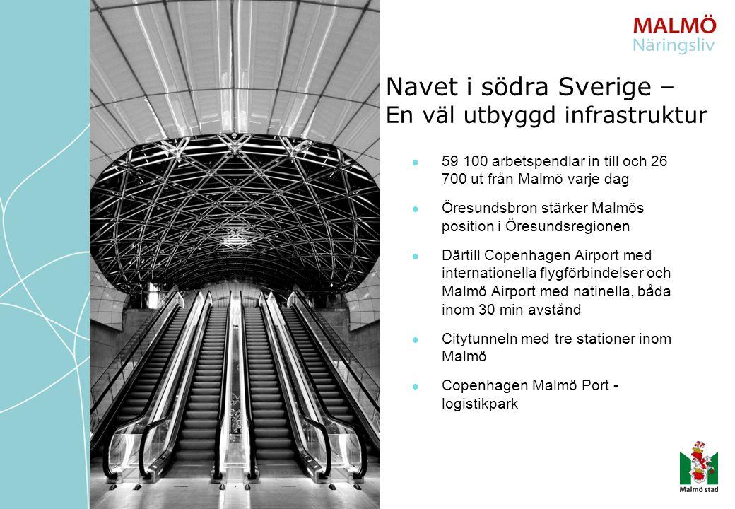 59 100 arbetspendlar in till och 26 700 ut från Malmö varje dag Öresundsbron stärker Malmös position i Öresundsregionen Därtill Copenhagen Airport med