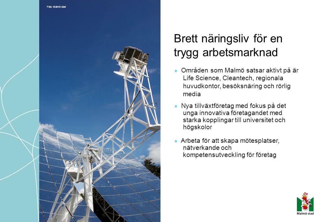 Brett näringsliv för en trygg arbetsmarknad Områden som Malmö satsar aktivt på är Life Science, Cleantech, regionala huvudkontor, besöksnäring och rör