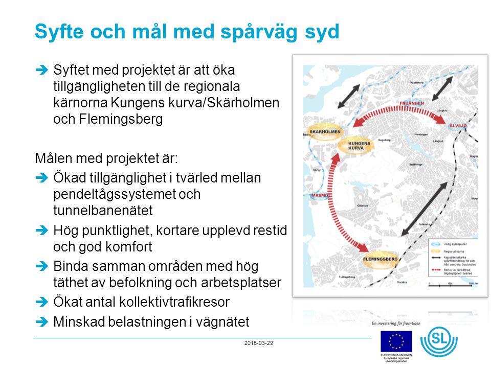 2015-03-293 Syfte och mål med spårväg syd  Syftet med projektet är att öka tillgängligheten till de regionala kärnorna Kungens kurva/Skärholmen och F