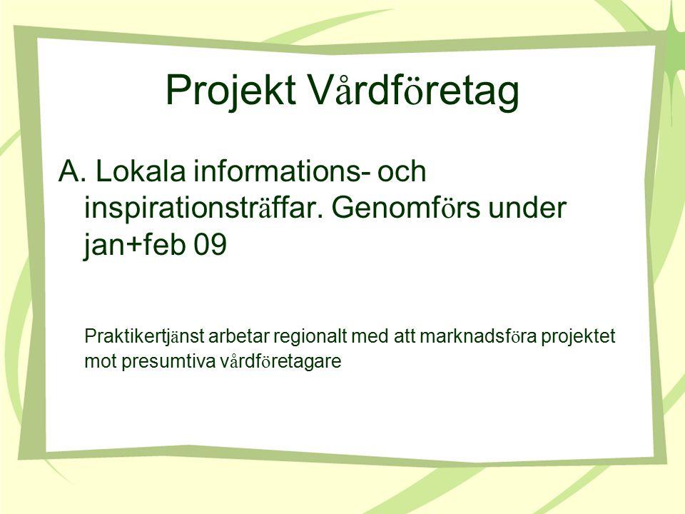 Projekt V å rdf ö retag A. Lokala informations- och inspirationstr ä ffar.