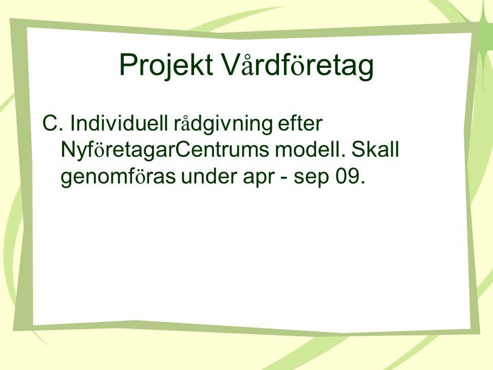 Projekt V å rdf ö retag C. Individuell r å dgivning efter Nyf ö retagarCentrums modell.
