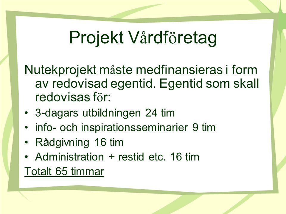 Projekt V å rdf ö retag Nutekprojekt m å ste medfinansieras i form av redovisad egentid.