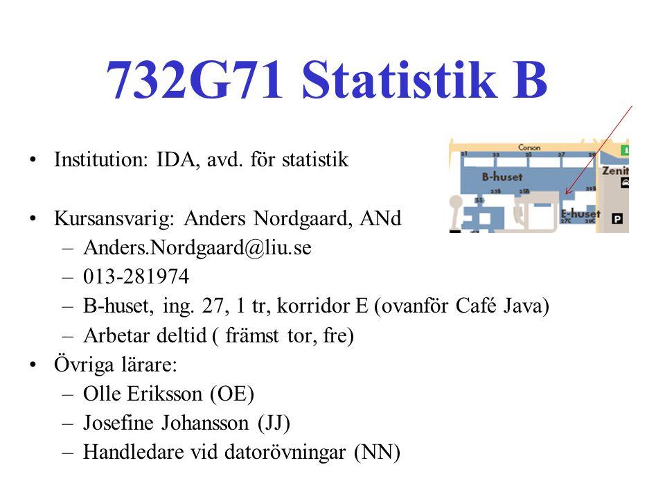 732G71 Statistik B Institution: IDA, avd. för statistik Kursansvarig: Anders Nordgaard, ANd –Anders.Nordgaard@liu.se –013-281974 –B-huset, ing. 27, 1